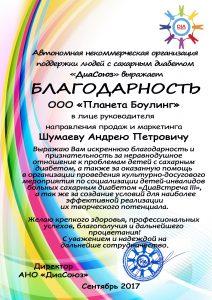 Благодарность Шумаеву Андрею